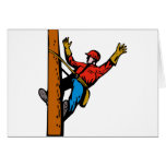 Power Lineman Electrician Worker Greeting Cards