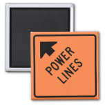 Power Lines Construction Zone Highway Sign Fridge Magnets