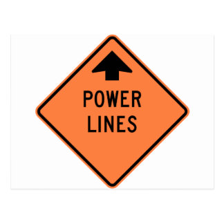 Power Lines Construction Zone Highway Sign Postcard