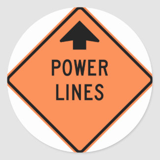 Power Lines Construction Zone Highway Sign Sticker