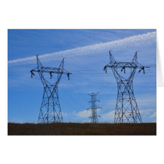 Power lines in blue sky card