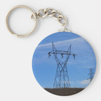Power lines in blue sky keychain