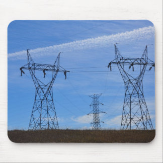 Power lines in blue sky mouse pad