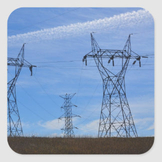 Power lines in blue sky square sticker