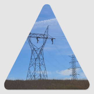 Power lines in blue sky triangle sticker
