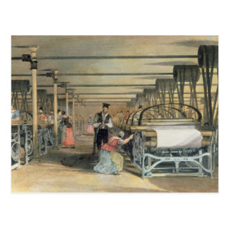 Power loom weaving, 1834 postcard
