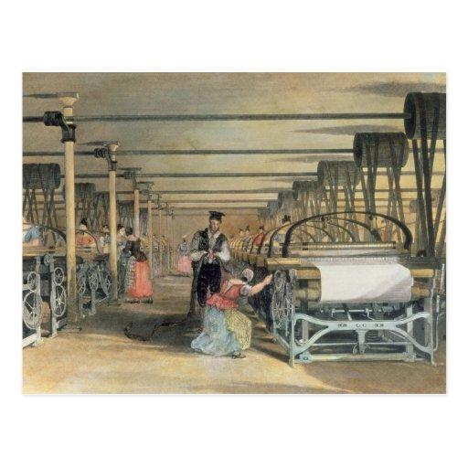 Power loom weaving, 1834 postcard