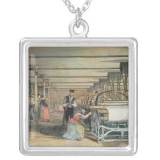 Power loom weaving, 1834 silver plated necklace