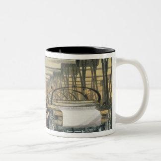 Power loom weaving, 1834 Two-Tone coffee mug
