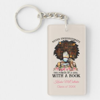 Power of a Girl with a Book Graduation Keychain