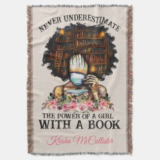 Power of a Girl with a Book Personalized Throw Blanket