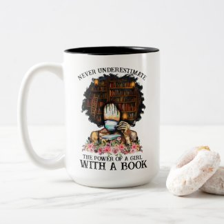 Power of a Girl with a Book Two-Tone Coffee Mug