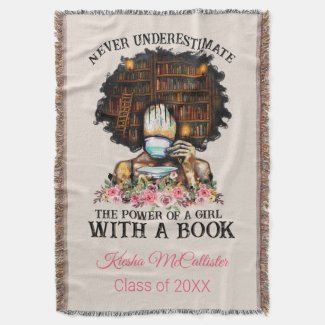 Power of a Girl with Book Personalized Graduation Throw Blanket