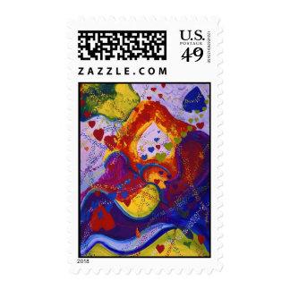 Power of Love – Crimson & Iris Hearts Postage Stamp