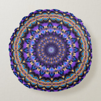 Power or Dreams Mandala (violet-gold-turquoise) Round Pillow