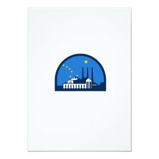 Power Plant Alaska Flag Half Circle Retro Card