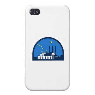 Power Plant Alaska Flag Half Circle Retro iPhone 4 Cases