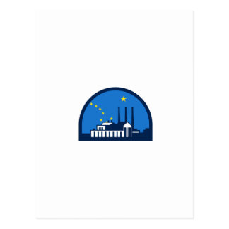 Power Plant Alaska Flag Half Circle Retro Postcard