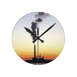 Power Plant Smoke Stack Round Clock