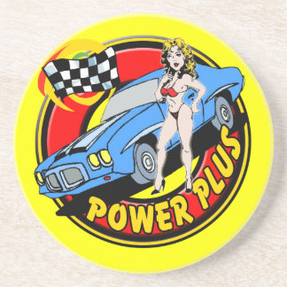 Power Plus Racing Car Sandstone Coaster