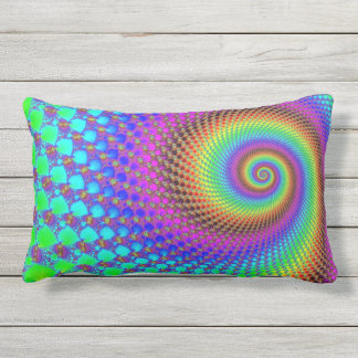 Power Spiral Fractal - neon colored Outdoor Pillow