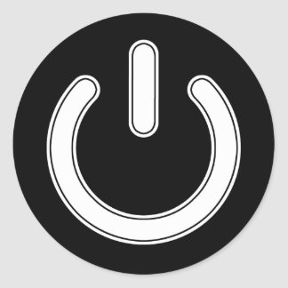 Power Symbol (Black and White) Classic Round Sticker