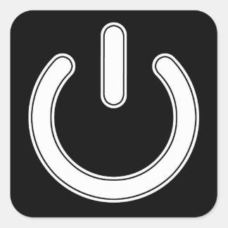 Power Symbol (Black and White) Square Sticker