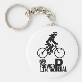 Power To The Pedal Basic Round Button Keychain