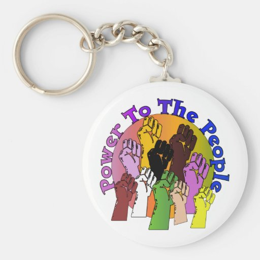 Power To The People Basic Round Button Keychain