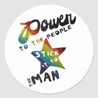 Power To The People (Retro Rainbow Patch) Classic Round Sticker