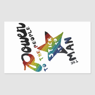 Power To The People (Retro Rainbow Patch) Rectangular Sticker