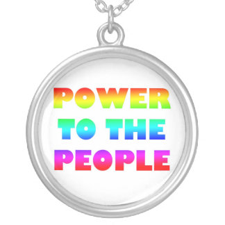 Power to the People Round Pendant Necklace