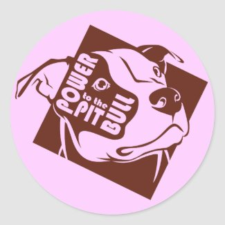Power to the Pit Bull Round Sticker