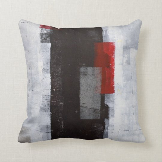 Power Trip Black Grey Red Abstract Art Pillow Zazzle Com
