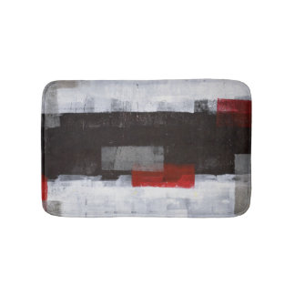 'Power Trip' Grey and Red Abstract Art Bathroom Mat