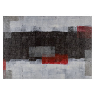 'Power Trip' Grey and Red Abstract Art Cutting Board