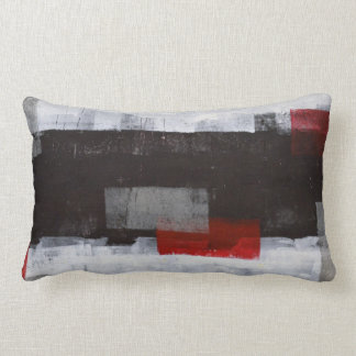 'Power Trip' Grey and Red Abstract Art Lumbar Pillow