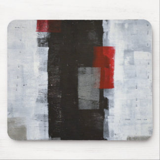 'Power Trip' Grey and Red Abstract Art Mouse Pad
