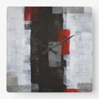 'Power Trip' Grey and Red Abstract Art Square Wall Clock