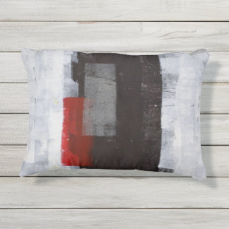 'Power Trip' Grey and Red Abstract Artwork Outdoor Pillow