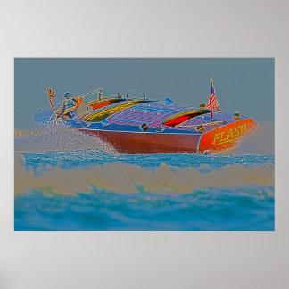 Power Turn-Wooden Speedboat Poster