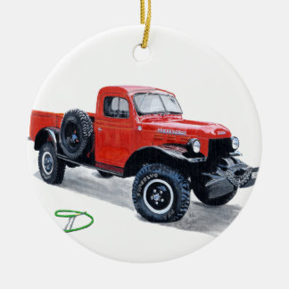 Power Wagon truck Double-Sided Ceramic Round Christmas Ornament