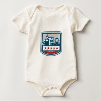 Power Washer Worker Truck Train Crest Retro Baby Bodysuit
