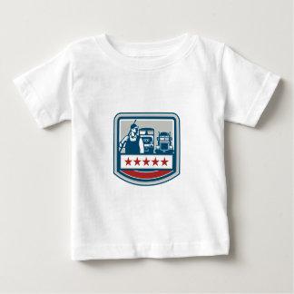 Power Washer Worker Truck Train Crest Retro Baby T-Shirt
