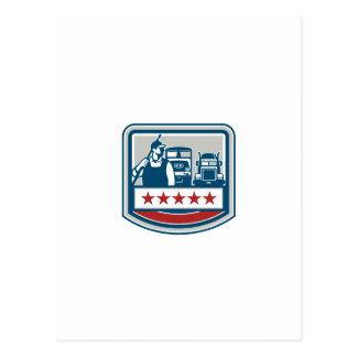 Power Washer Worker Truck Train Crest Retro Postcard