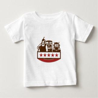 Power Washer Worker Truck Train Stars Retro Baby T-Shirt