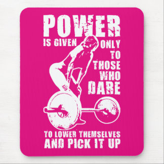 POWER. Women's Weightlifting Workout Motivational Mouse Pad