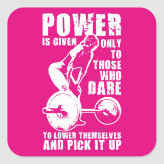 POWER. Women's Weightlifting Workout Motivational Square Sticker