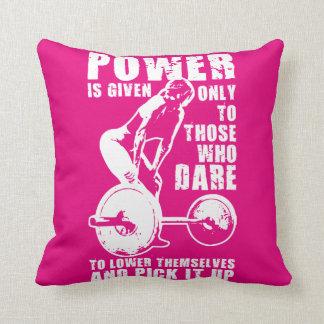POWER. Women's Weightlifting Workout Motivational Throw Pillow