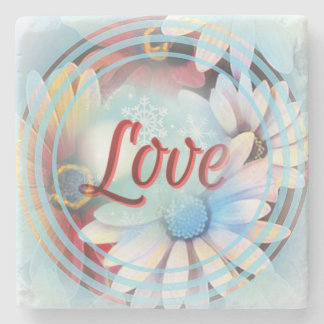 """Power Word """"Love"""" on a Marble Coaster With Daisies"""